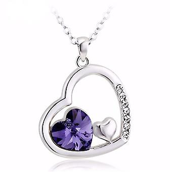 TOC Silvertone Purple Crystal Heart Set Open Heart Pendant Necklace 16