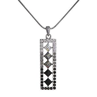 Annaleece Silvertone Rectangular Pendant With Crystals