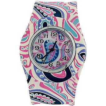 TOC Womens Ladies Girls Pink Paisley Design Silicone Slap Watch TOC164