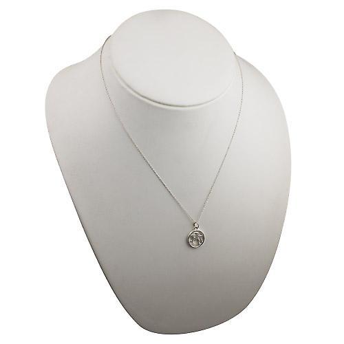 Silver 11mm pierced Capricorn Zodiac Pendant with a rolo Chain 20 inches