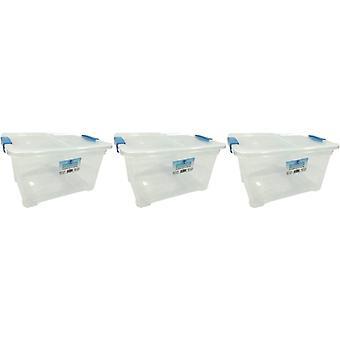 3 x 18 Liter Aufbewahrungsbox und Deckel mit Clips Aufbewahrungsmöbel