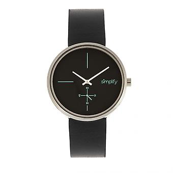 Simplify The 4400 Leather-Band Watch - Black/Silver