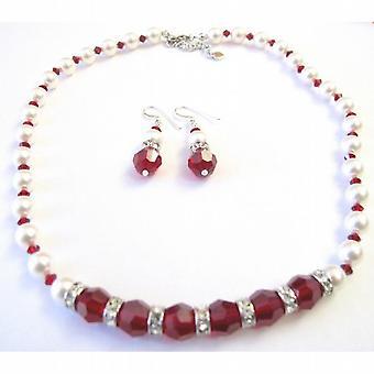Hvide perler Swarovski Maroon krystaller 10mm smykker m / sølv Rondells