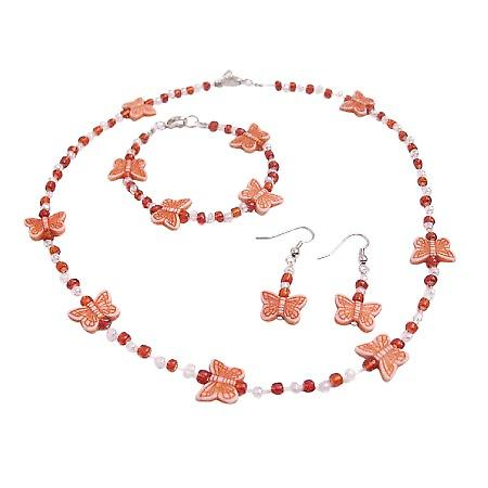 School Girls Fancy Jewelry White Orange Beads Orange Butterfly Beads