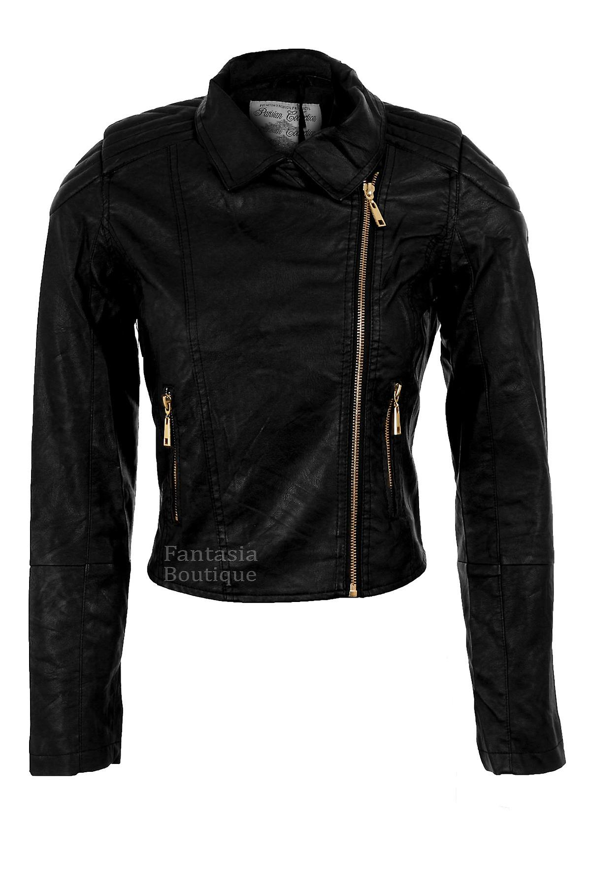 Ladies Black Biker Jacket Gold Zip PVC Leather Padded Shoulder Long Sleeve Women's Coat