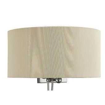 Drum veck krom vägg ljus med glas diffusor och kräm skugga - Searchlight 3462-2CR