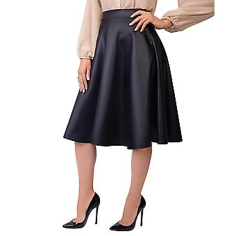 KRISP  Womens Ladies PVC Leather A Line Swing High Waist Pleated Flared Full Midi Skirt