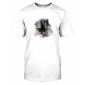 Kot Perski pieścić kot twarzy męskie T Shirt