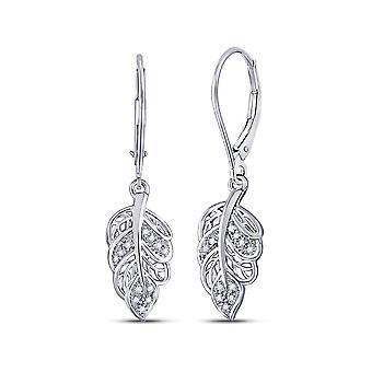 1/20 Carat (ctw H-I, I2-I3) Diamond Dangle Leaf Earrings in 10K White Gold