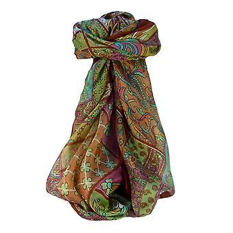 Moerbei-zijden traditionele vierkante sjaal Qia Terracotta door Pashmina & Silk