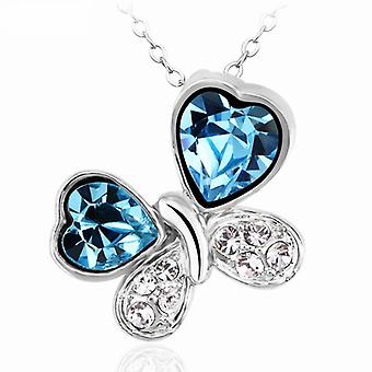 TOC Blue Crystal Butterfly Pendant Necklace 16