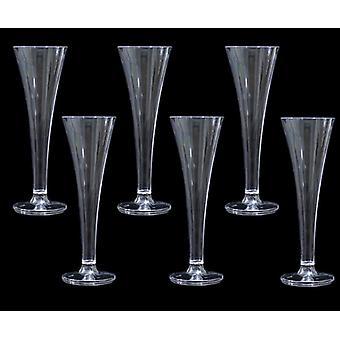 Clear Plastic Disposable Champagne Tuilip Flute Glasses 50 Pack - (PLCTU6)