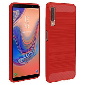Carbon fibre shield case, silicone cover aluminium effect for Galaxy A7 2018 Red