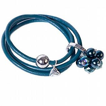 Kleshna Teal Blue Rhinestone & Simulated Pearl Charm Leather Adjustable Bracelet