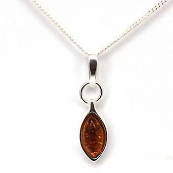 Toc Sterling Silver Amber Drop Pendant on 18 Inch Chain