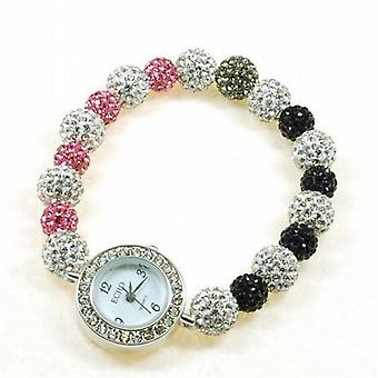 Echo Pink  Black & Silver Elastic Disco-balla Ladies Fashion Watch Bracelet