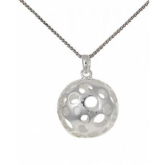 "Cavendish French Silver ball pendant with circles with 16 - 18"" Silver Chain"