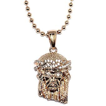 Micro Jesus Piece Pendant Rose Gold with 30 inch Ball chain Necklace