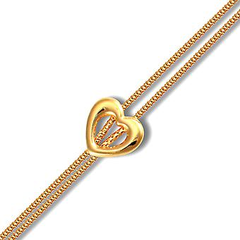 Jewelco London Ladies 9ct Yellow Gold Heart Charm Double 1.3mm Gauge Bracelet