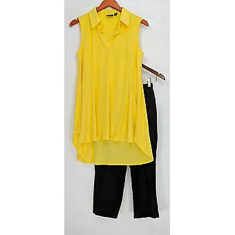 Kvinder med kontrol ærmeløs top & Capri leggings lyse gule A305909