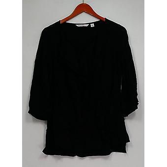 Isaac Mizrahi Live! Top Ruffle Front 3/4 mouw blouse zwart A260872