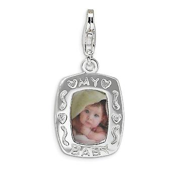 925 Sterling Silver Rhodium-plated Fancy Lobster Closure Polished My Baby Frame With Lobster Clasp Charm - Measures 29x1