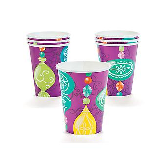 SALE - 8 Jewel Tone Bauble Christmas Paper Party Cups