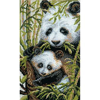 Panda With Young Counted Cross Stitch Kit 8.75