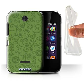 STUFF4 Gel/TPU Case/Cover for Nokia Asha 230/Green Flower/Floral Swirl Pattern