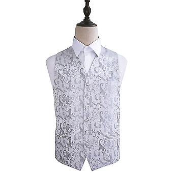 Silver Passion Floral Patterned Wedding Waistcoat