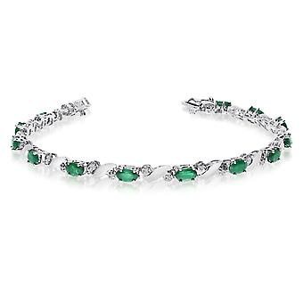 14k White Gold Natural Emerald And Diamond Tennis Bracelet