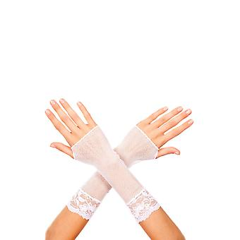 Short Fishnet Gloves With Lace White