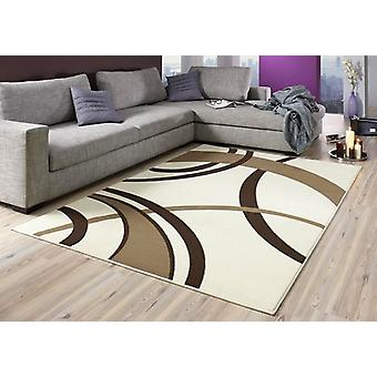 Design velour carpet Rotary cream / Brown 101597