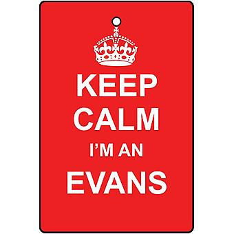 Keep Calm I'm An Evans Car Air Freshener