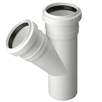 Avloppsvatten Tee Connector gemensamma 40 / 40mm röret Diameter 45deg monteringsvinkeln