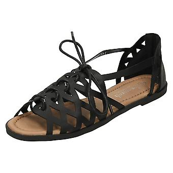 Ladies Savannah Strappy Lace Up Sandals F0900