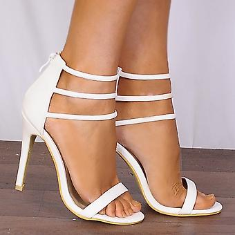 Shoe Closet White Strappy Heels - Barely There Peep Toes Strappy Sandals Stilettos High Heels