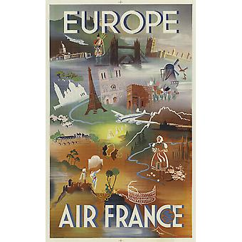 Air France Europa Poster Print Giclee