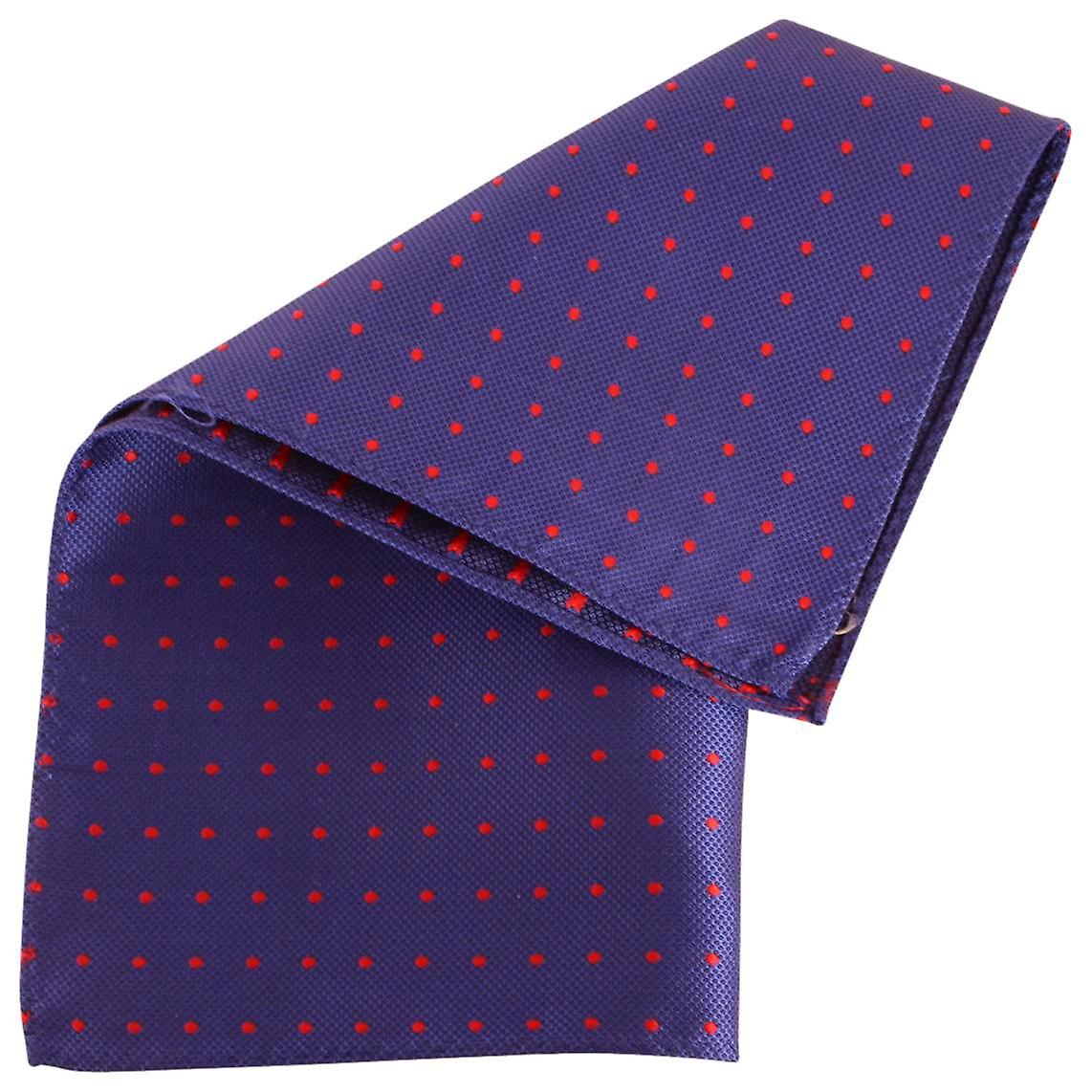 Knightsbridge Neckwear Spotted and Striped Silk Pocket Square - Blue/Red