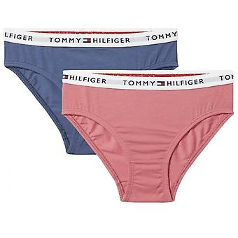 Tommy Hilfiger Girls 2 Pack Iconic Bikini Brief, Rapture Rose / Vintage Indigo, Medium