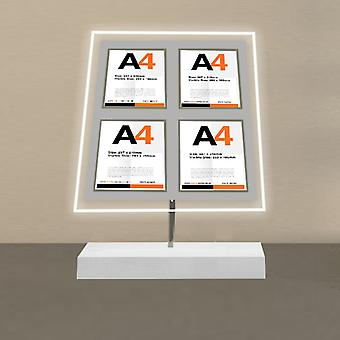 Free Standing 4 Pocket A4 Portrait LED Poster Display