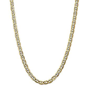 14k Yellow Gold Solid Polished Lobster Claw Closure 7mm Concave Anchor Chain Necklace - Lobster Claw - Length: 18 to 26