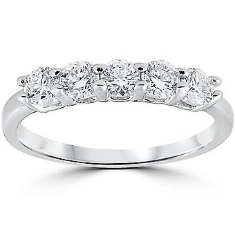 1/2ct Diamond Five Stone Wedding Ring 14K White Gold