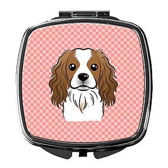 Carolines Treasures  BB1224SCM Checkerboard Pink Cavalier Spaniel Compact Mirror