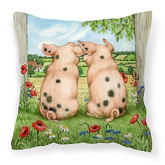 Pigs Side By Side by Debbie Cook Canvas Decorative Pillow