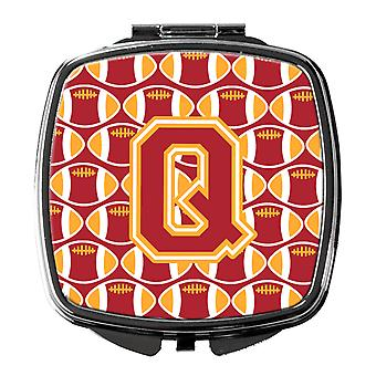 Letter Q Football Cardinal and Gold Compact Mirror