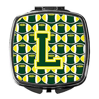 Letter L Football Green and Yellow Compact Mirror