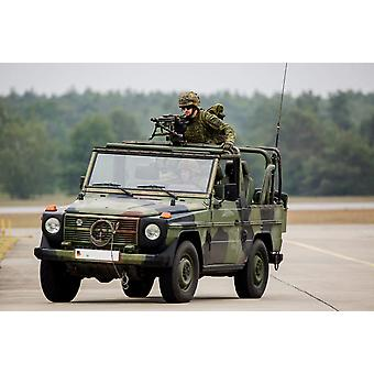 German Army paratroopers in a  jeep with machine gun mounted Poster Print by Timm ZiegenthalerStocktrek Images
