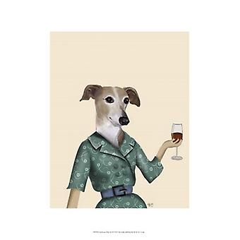 Greyhound Wine Snob Poster Print by Fab Funky (13 x 19)