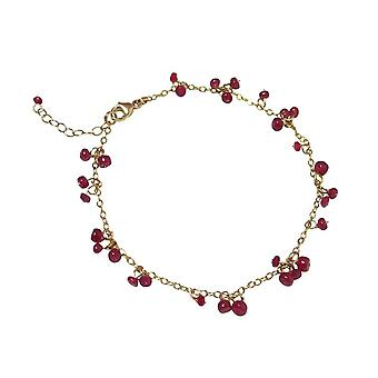 Gemshine - ladies - bracelet - gold plated - Ruby - Red - CONFETTI